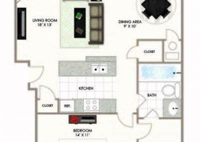 HTA 1BD 1BA floor plan
