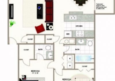 HTA 2BD 2BA floor plan